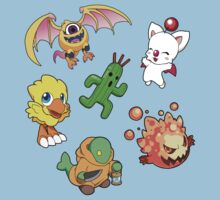 Final Fantasy Mascots - Moogle, Bomb, Tonberry, Chocobo, Ahriman, Cactuar Kids Clothes