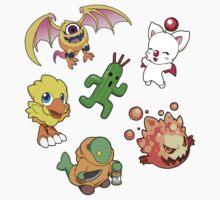 Final Fantasy Mascots - Moogle, Bomb, Tonberry, Chocobo, Ahriman, Cactuar Kids Tee