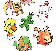 Final Fantasy Mascots - Moogle, Bomb, Tonberry, Chocobo, Ahriman, Cactuar by 57MEDIA
