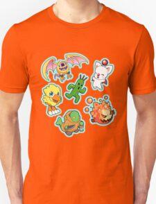 Final Fantasy Mascots - Moogle, Bomb, Tonberry, Chocobo, Ahriman, Cactuar Unisex T-Shirt