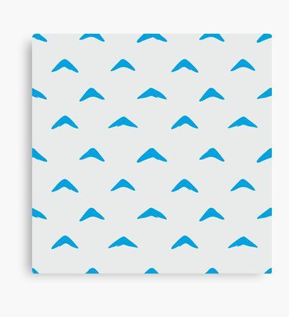 Totoro Inspired Blue Boomerang Pattern Canvas Print