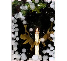 Angel Snow Candle with Holly Photographic Print
