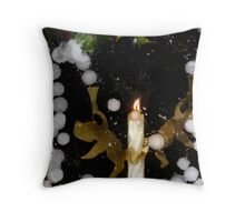 Angel Snow Candle with Holly Throw Pillow