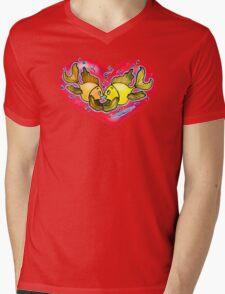 Big Love cute Fish hug in Red Hart Mens V-Neck T-Shirt