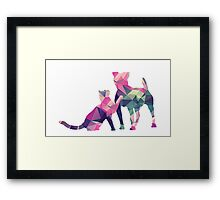 Moggy and Pooch #1. Pink&Green. Take your best friend everywhere. Framed Print