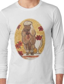 Poodle with Wine Glass Long Sleeve T-Shirt