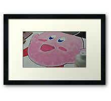Kirby without eyes colored in Framed Print