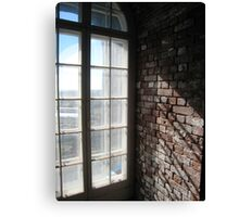 Looking out a window half way up Fire Island Light Canvas Print