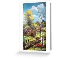 Fall and The Barn on Slate Greeting Card