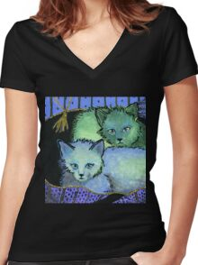 Cool Kittys Women's Fitted V-Neck T-Shirt