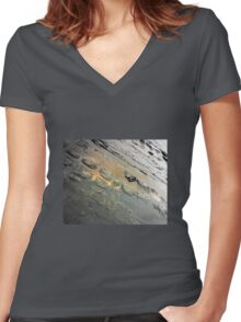 Golden Reflection on the Tessellated Pavement , Pentax K200D Women's Fitted V-Neck T-Shirt