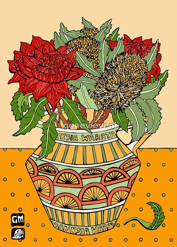 Banksias and Waratahs in a jug by genevievem