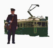 W Class Tram & Conductor T-shirt by Bert Goldsmith
