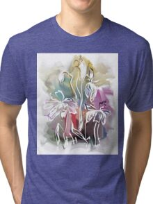 brunch of abstract stylized flowers illustration  Tri-blend T-Shirt