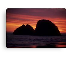 Sunset On Three Arch Rocks Bird Sanctuary Canvas Print