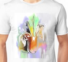 bouquet of abstract flowers in orange pot illustration  Unisex T-Shirt