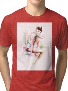 fine young ballerina sitting  Tri-blend T-Shirt