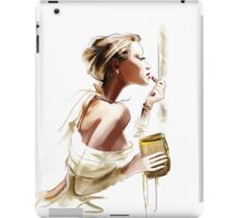 Pretty young woman with  lipstick iPad Case/Skin