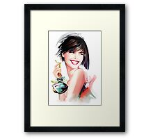 fashion woman with bottle of perfume  Framed Print