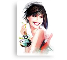 fashion woman with bottle of perfume  Canvas Print