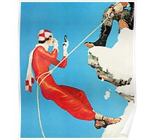 Humorous mountain climbing couple playful fashion art Poster