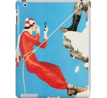 Humorous mountain climbing couple playful fashion art iPad Case/Skin