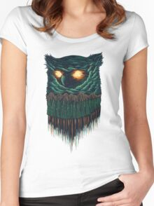 owl forest Women's Fitted Scoop T-Shirt