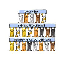 Cats celebrating October 11th Birthday Photographic Print