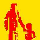 1 bit pixel pedestrians (red) by Pekka Nikrus