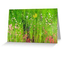 Pink Flowers in Meadow Greeting Card