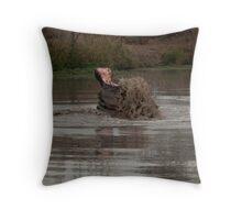 Scooping mud Throw Pillow