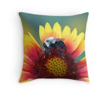 Colorful Flower and Bumble Bee Throw Pillow