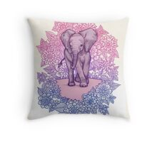 Cute Baby Elephant in pink, purple & blue Throw Pillow