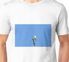 Yellow bird sings his song leaning on an antenna Unisex T-Shirt