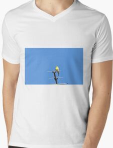 Yellow bird sings his song leaning on an antenna Mens V-Neck T-Shirt