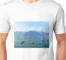 Ducks on a lake in the mountains Unisex T-Shirt