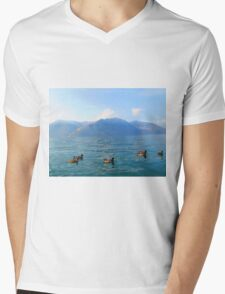 Ducks on a lake in the mountains Mens V-Neck T-Shirt