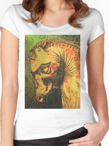 Ancient Persian Horse Head Women's Fitted Scoop T-Shirt