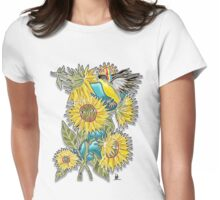 finch sunflowers Womens Fitted T-Shirt