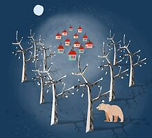 Animal's Nightlife - Bear In Forest by elenor27