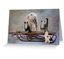 Rosie with her new sleigh Greeting Card