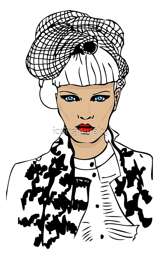 fashion woman portrait with trendy hair style and fake chanel jacket by iconsjewelry