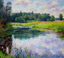 Creek in midsummer light by Julia Lesnichy