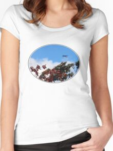 As the season flies by ('Leaf'ing below a jet plane) Women's Fitted Scoop T-Shirt