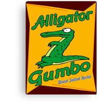 Alligator Gumbo Cartoon Canvas Print