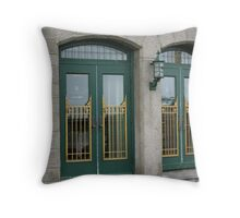 Doors of the Fairmont le Chateau Frontenac Throw Pillow