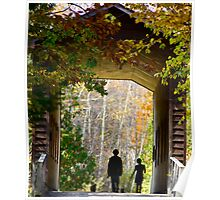 Covered Bridge w/kids Poster