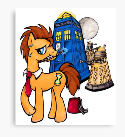 Doctor Whooves - Black Canvas Print