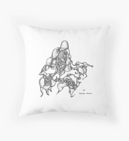 Amoeba Dance - pigment ink on paper Throw Pillow