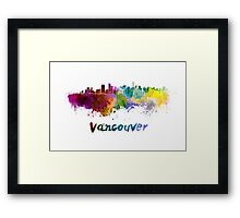 Vancouver skyline in watercolor Framed Print